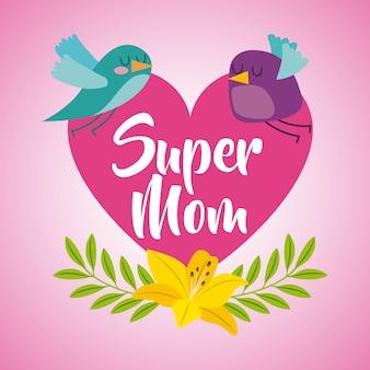 Pink heart birds flower super mom card