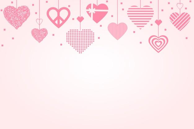 Vettore di sfondo bordo cuore rosa, immagine grafica amore