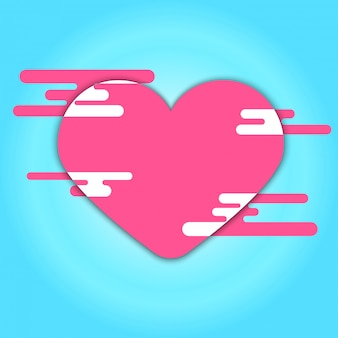 Pink heart and cloud on blue background
