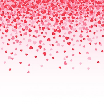 Pink heart confetti with white background