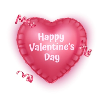 Pink heart, greeting card of valentine's day