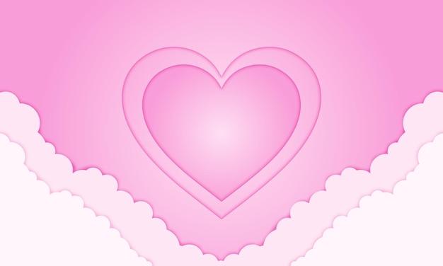 バレンタインデーのための紙のスタイルのピンクのハートの手の雲。ポスター、バナーのビジネスデザイン。