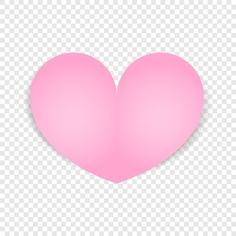 Pink heart isolated. valentines day design.