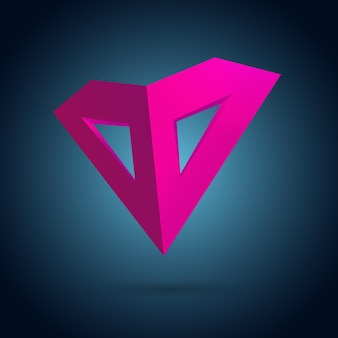 Pink heart mask design concept with realistic light and shadow funny emblem on dark gradient