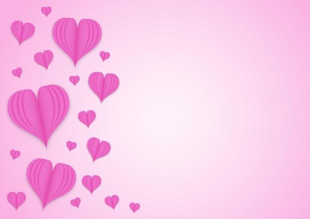 핑크 색상 그라데이션 배경에 핑크 하트 종이 아트 스타일