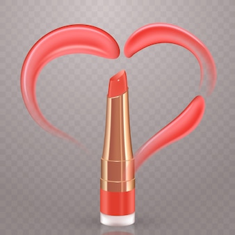 Pink heart of realistic vector cream or lipstick smears. transparent background.