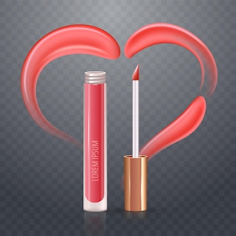 Pink heart of realistic vector cream or lipstick smears. transparent checkered background.
