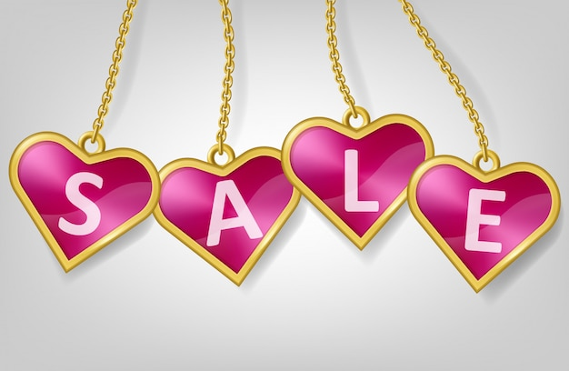 Pink heart shape tags with text sale
