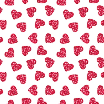 Pink heart shapes with glitter seamless pattern