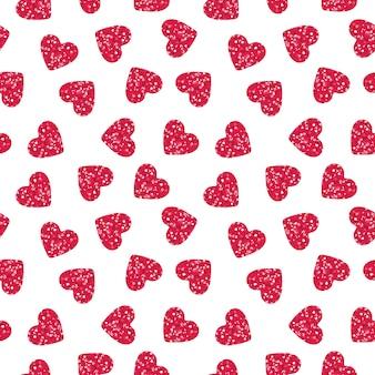 キラキラシームレスパターンとピンクのハートの形