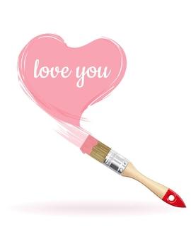 비문 핑크 하트-나는 당신을 사랑합니다. 브러시 그린 심장. 삽화