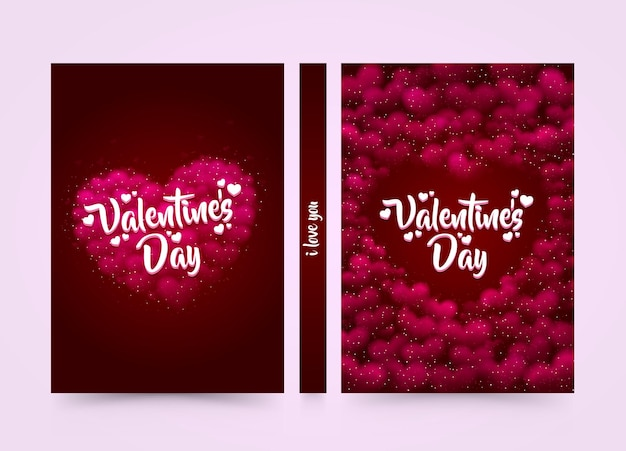 Pink hearted background with a valentine day title on it. format a4 cover. vector