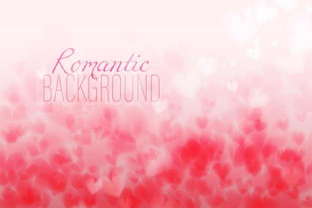 Pink hearts bokeh light valentine's day horizontal backgrounds. backdrop with changing col
