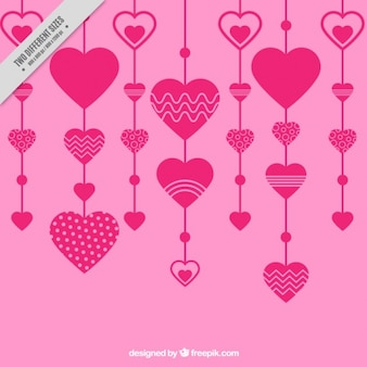 Cuori rosa decorazione nel progetto piatta