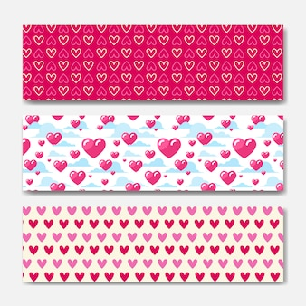 Pink hearts horizontal banners set decoration for valentines day holiday poster or web background design