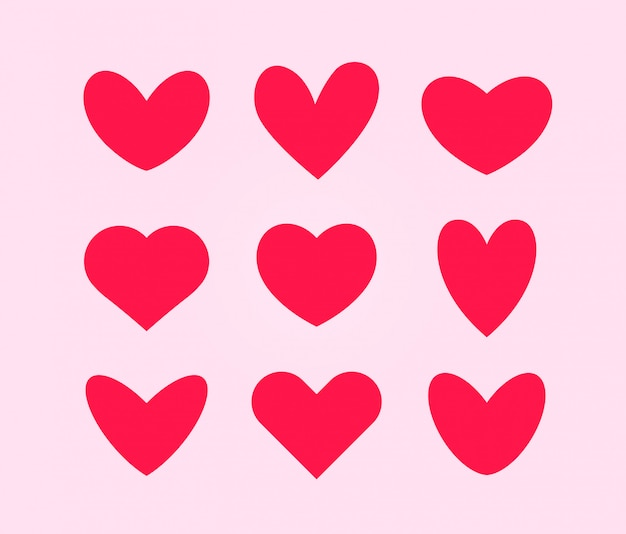 Pink hearts, love symbols for valentines day