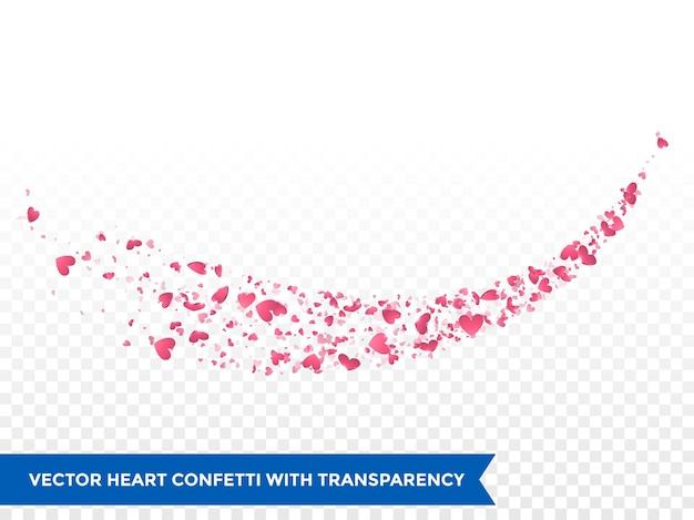 핑크 하트 추적 또는 벡터 결혼식 사랑 혜성 추적 색종이 흔적 투명 배경