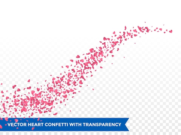 Pink hearts trace or vector wedding love comet trace confetti trail transparent background