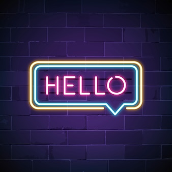 Pink hello in a speech bubble neon sign vector