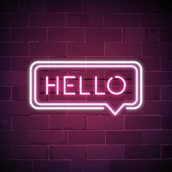 Pink hello in a speech bubble neon sign