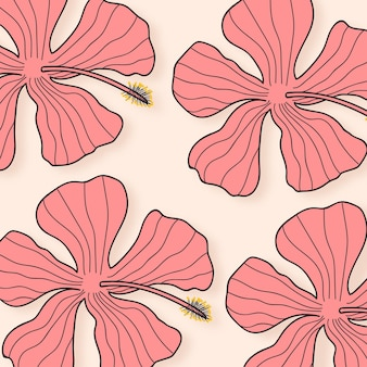 Pink hibiscus flower illustration on light yellow background