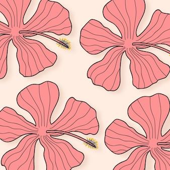 Иллюстрация розовый цветок гибискуса на светло-желтом фоне