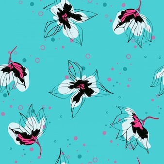 Pink hibiscus flowers tropical vector seamless pattern. exotic pattern with delicate buds. floral hawaiian style
