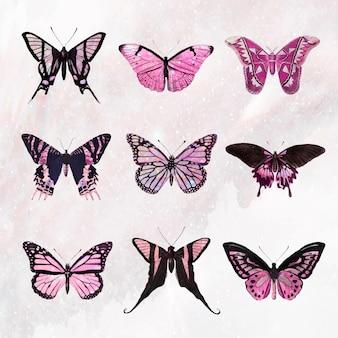 핑크 홀로그램과 윤기 나비 디자인 요소 세트 벡터