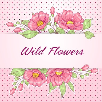 Pink horizontal greeting card with flowers and polka dots