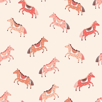 Pink horses vector seamless pattern. cartoon pony character on peach color background. abstract carnival childish backdrop. magical hand drawn cute animal wrapping paper, wallpaper design.