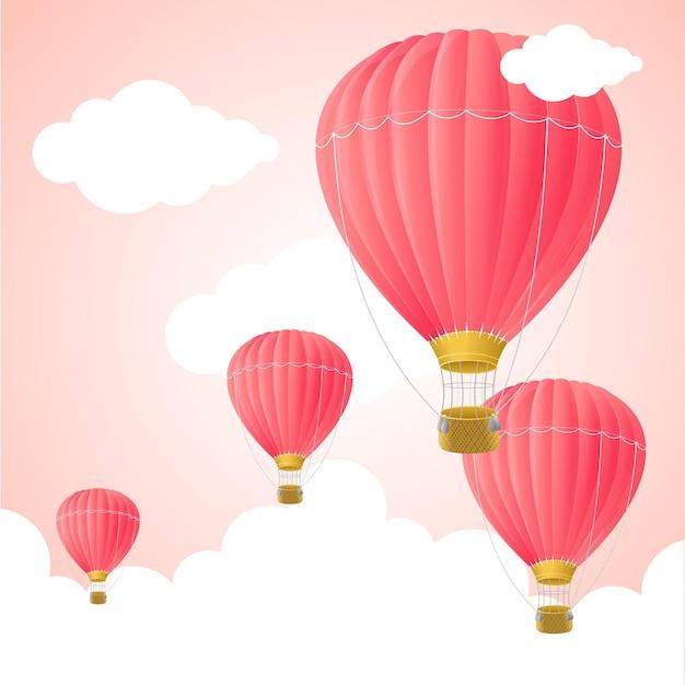 핑크 뜨거운 공기 카드 기호 꿈 그림