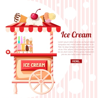 Pink ice cream cart. retro trolley. stand of ice creams, sweet cart.  illustration on background with line texture. place for your text. website page and mobile app