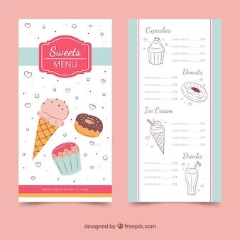 Pink ice cream menu