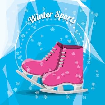 Pink ice skates icon