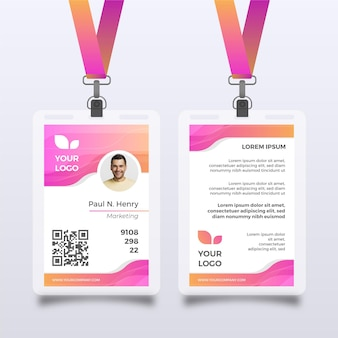 Pink id card template with photo