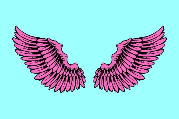 Pink illustration of angel wings design