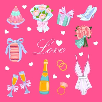 Pink illustration with bride's bouquet, heels, cake, wine, present, macaroons and rings