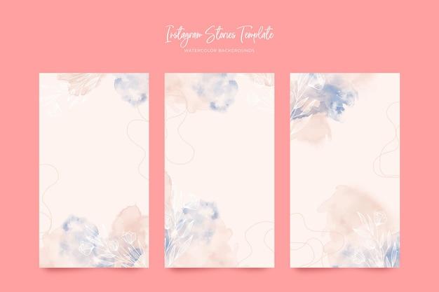 水彩画の背景を持つピンクのinstagramストーリーテンプレート