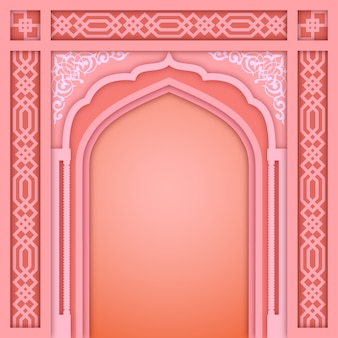 Pink islamic arch design template