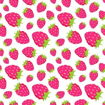 生地のピンクのジューシーなstrawberrieベクトルパターン