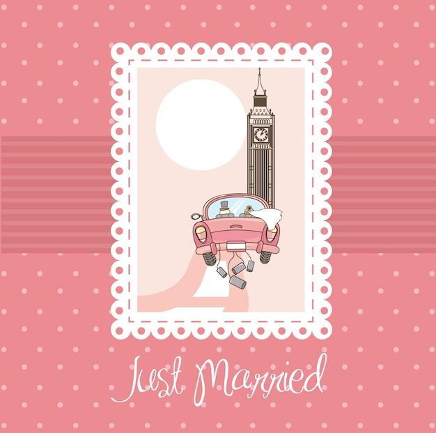 Pink just married card background vector illustratlion