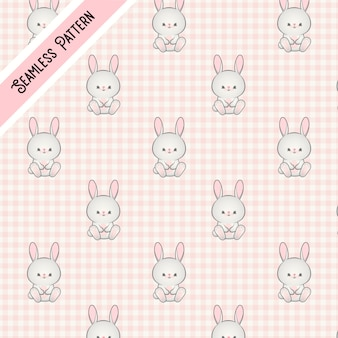 Розовый узор кролика каваи