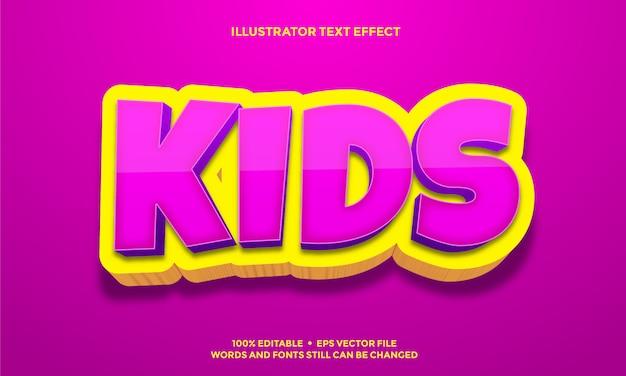 ピンクの子供と黄色の3dテキスト効果デザイン