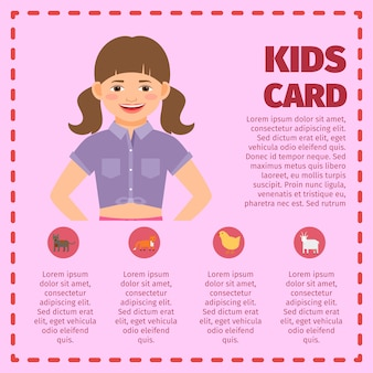 Pink kids garden card infographic