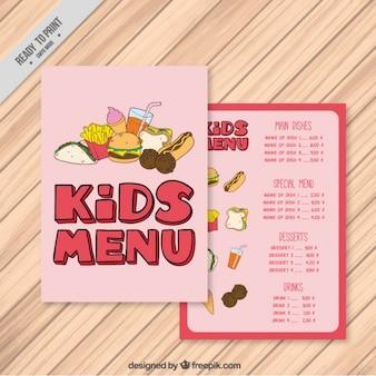 Pink kids menu with burgers
