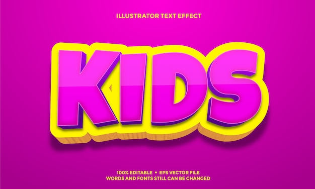 Pink kids and yellow 3d text effect design