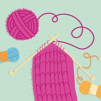 Розовый шарф для вязания