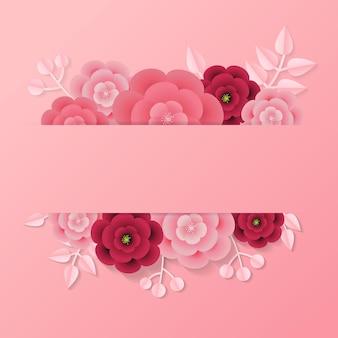 Розовая этикетка с пустым пространством для текстового шаблона, украшенная листом и цветком в стиле бумаги.