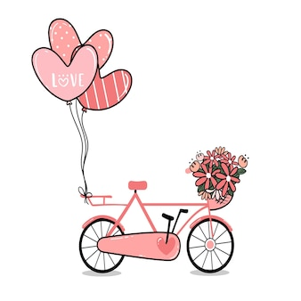 Pink lady bicycle with flower basket and heart balloons