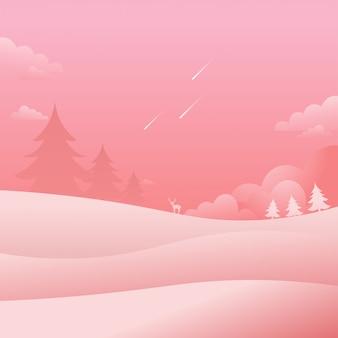 Pink landscape falling stars nature background flat style vector illustration